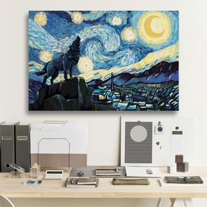Wolf Starry Night Framed Canvas Prints