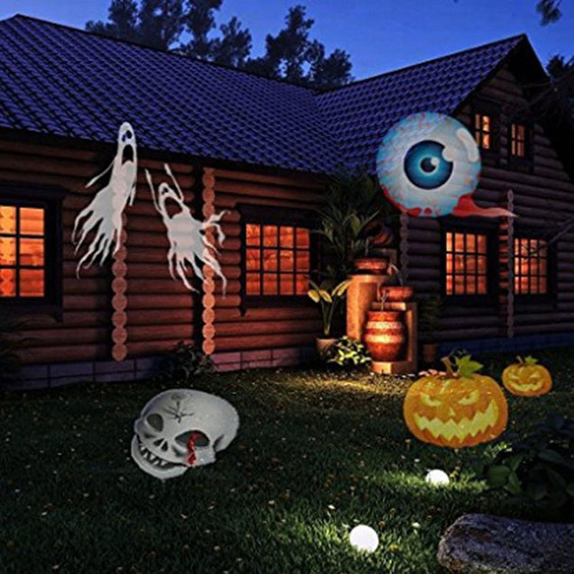 Christmas,Halloween Motion Projector W/ 12 Pcs Pattern Lens - Flying Snowflakes And More! - Buy1More