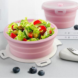 Pack&Go Collapsible Lunch Box | Collapsible Food Container | Foldable Storage Bowl | Silicone collapsible salad bowl set