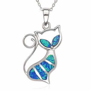 Sterling Silver Created Blue Opal Cat Pendant