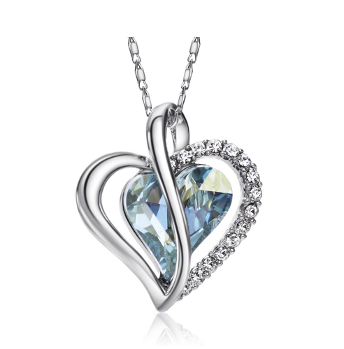 Women Fashion Style Jewelry Love Heart Charm Necklace Crystal - Buy1More