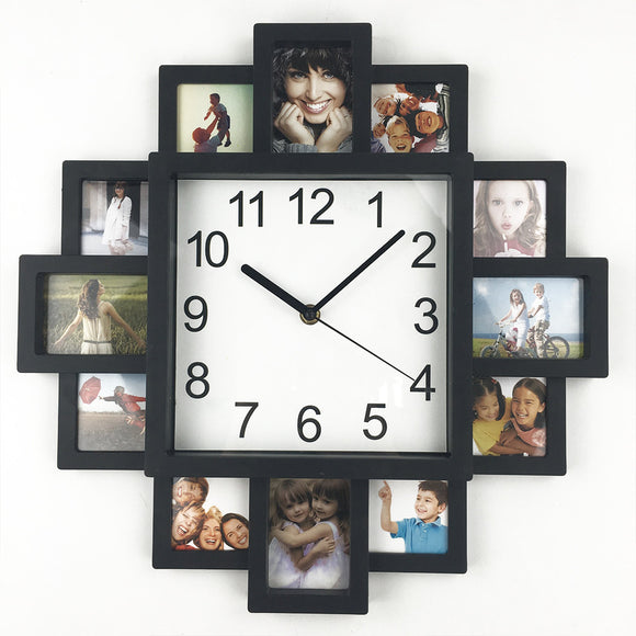 Creative And Decorative  Square Wall Clock Photo Frame Clock Plastic Art Pictures - Buy1More