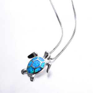Sterling Silver Created Blue Opal Turtle Pendant