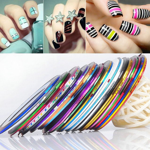 30 Pcs Nail Stickers Decoration Colorful Line - Buy1More