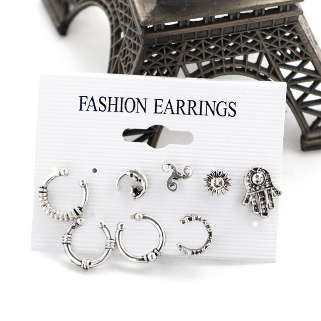 8 Pieces Stud Earrings Fashion Bohemia Style Silver Tassel - Buy1More