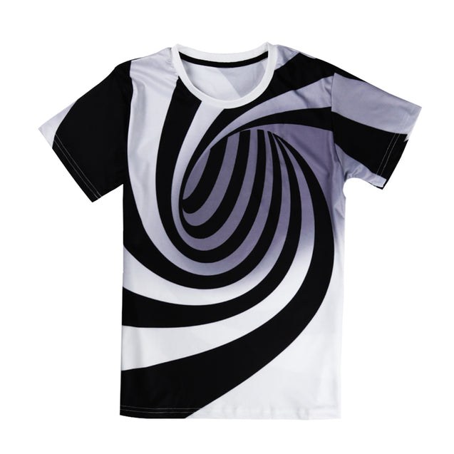 Unisex 3D Print Black And White T-Shirt - Buy1More