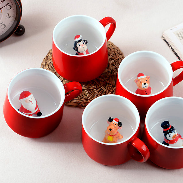 Beautiful 3D Christmas Hand Grip Mug  400ML For Christmas - Buy1More