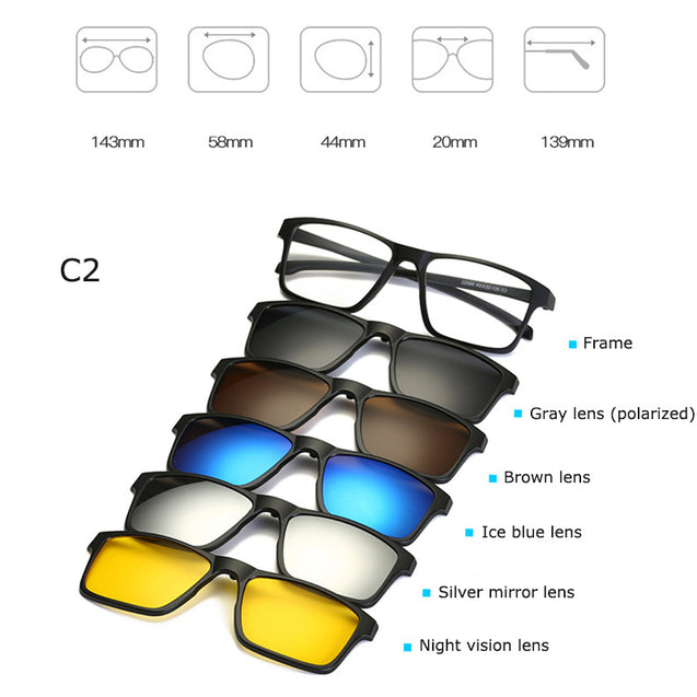 5 In 1 Magnetic Lens Swappable Sunglasses - Buy1More