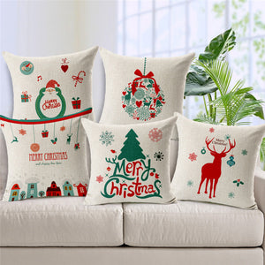Set of 6 Christmas Style Cotton Linen Cushion Cases - Buy1More
