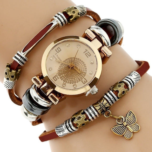 Women Fashion Genuine Leather Watch Triple Bracelet - Buy1More