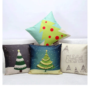 Set of 4 Christmas Tree Cotton Linen Cushion Cases - Buy1More