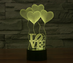 Four Love Ballons Colorful 3D LED Lamp - Buy1More
