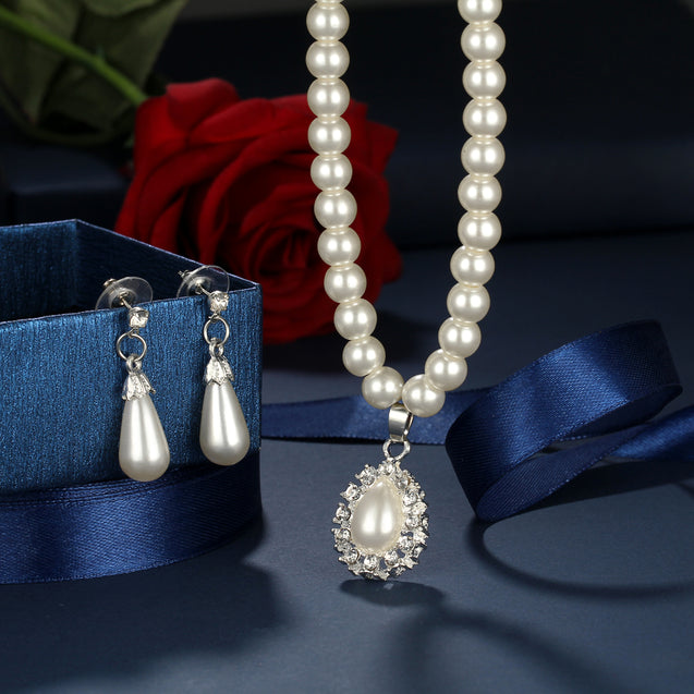 Fashion Set Classic Necklace Crystal Water Drop - Buy1More