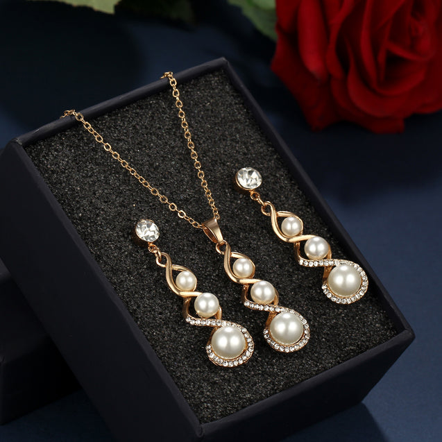 Jewelry Set Necklace Stud Earrings Pearl Inlaid Crystal Spiral - Buy1More