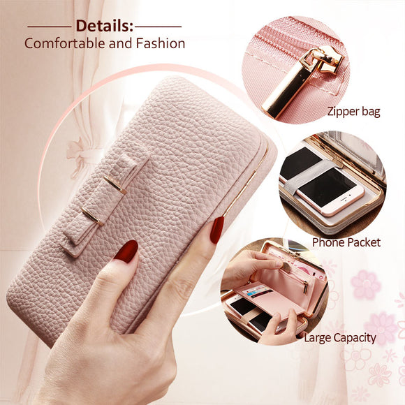 Luxury Wallet Leather Bag For Samsung,iPhone,Xiaomi Suitable For 3.5-5.7 Inch