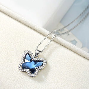 Crystal & Rhinestone Charm Long Necklace Glaring Butterfly Design - Buy1More