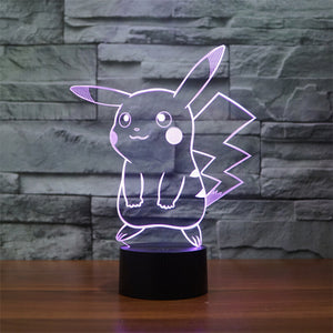 Pikachu Pattern Colorful 3D LED Lamp - Buy1More