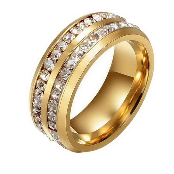 Women Fashion Ring Double Crystal Paved Trendy Titanium