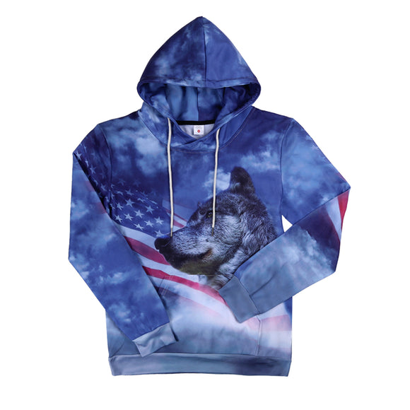 3D Print US Flag With Wolf Hoodies - Buy1More