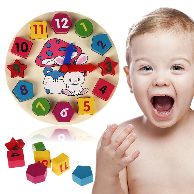 Educational Clock Toy Wooden Puzzle for Kids Children Gift - Buy1More