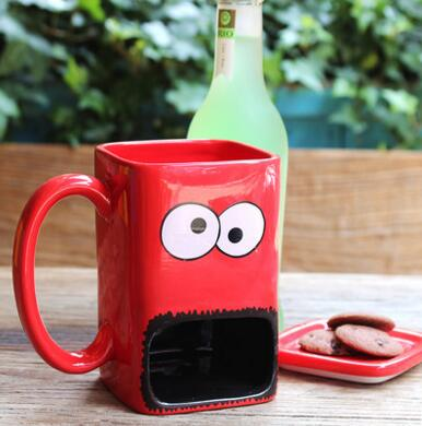 Ceramic Googly Eyed Monster Dunk With Cover Mug - Buy1More
