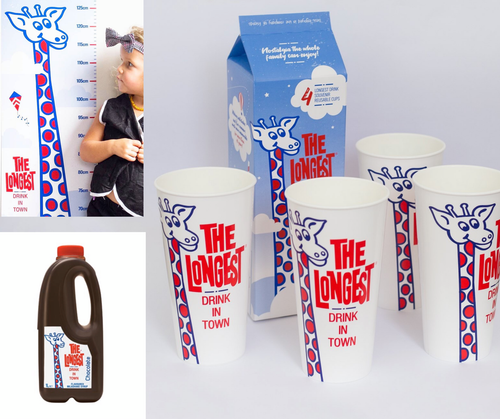 Gift Set Height Chart, Cups x4 & Milkshake Syrup