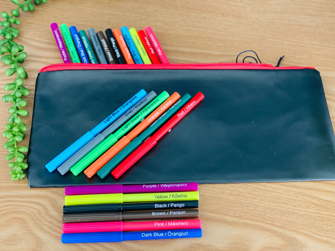 Felt tip pens in Te Reo & English & pencil case