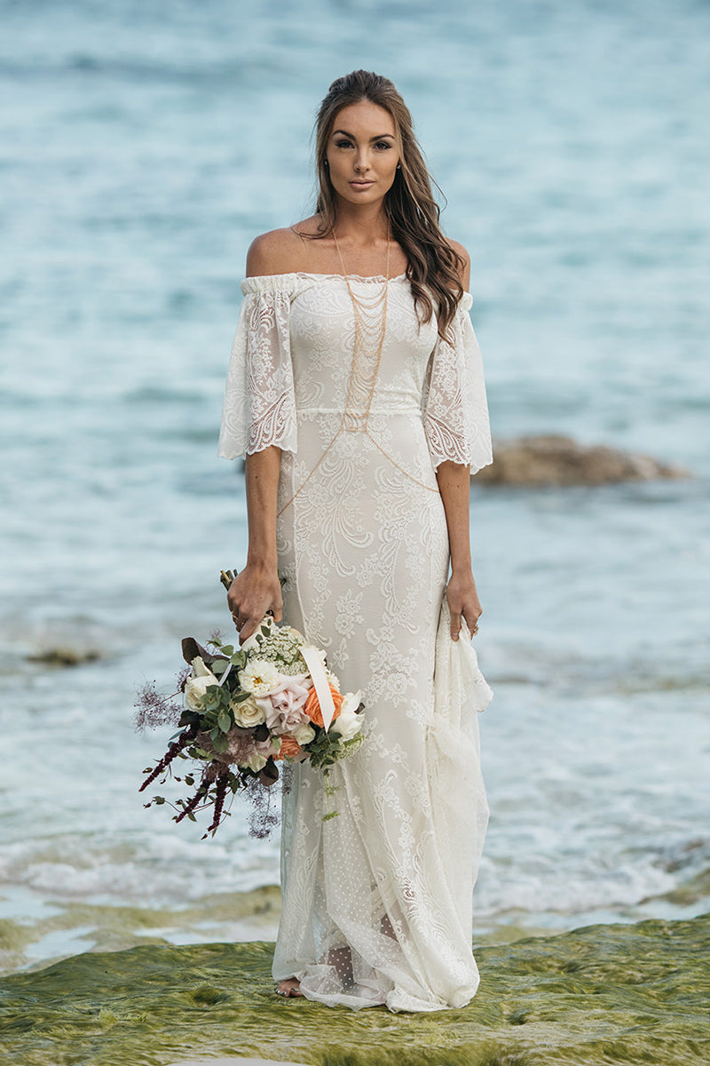 Beach Wedding Dresses - White Meadow