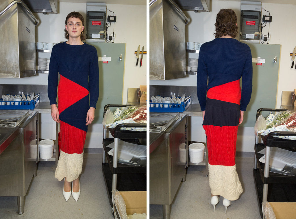 Long-sleeve wool maxi dress with navy, red and cream paneling