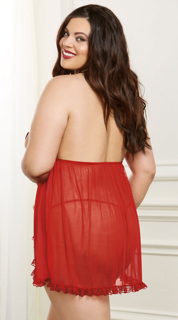 Plus Size Strappy Red Flyaway Babydoll Set