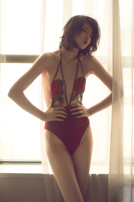 Rose Embroidery Swimsuit