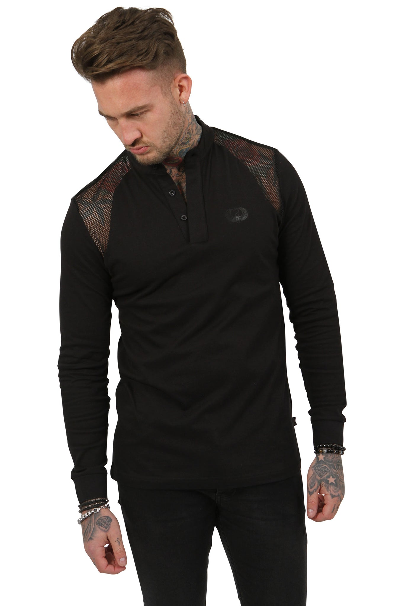 Style: Srigal Long Sleeve Polo Black - Junq Couture