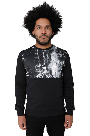 Style : Neper Simple Black Marble Print Sweatshirt - Junq Couture