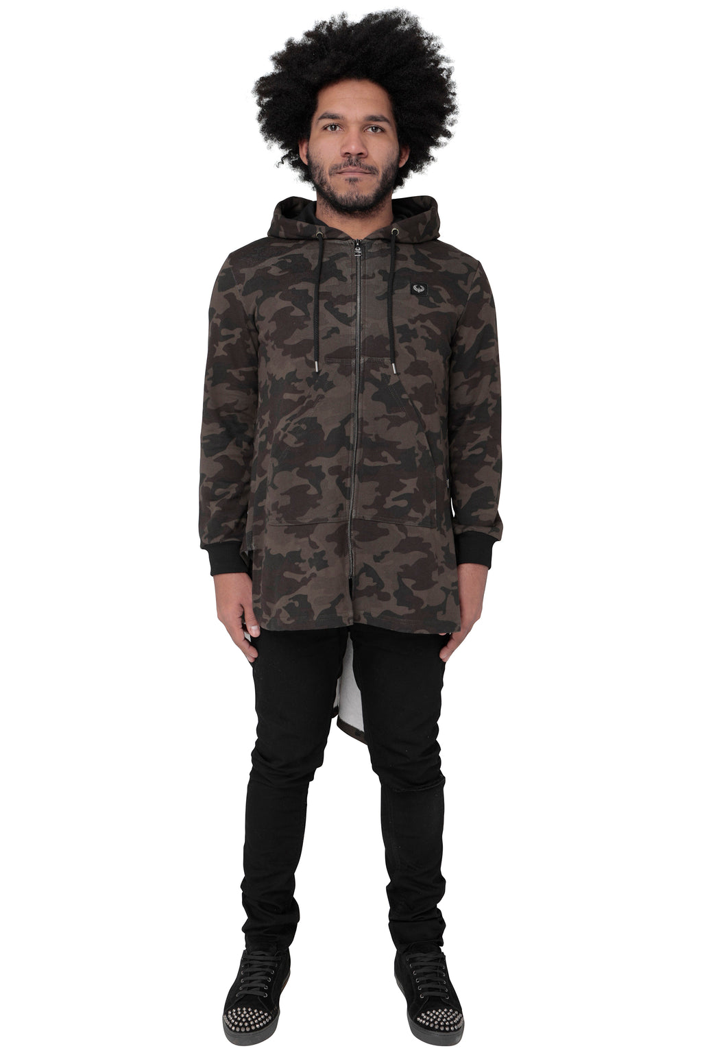 Style : Qetesh Camo Longline Cape Style Hoody - Junq Couture