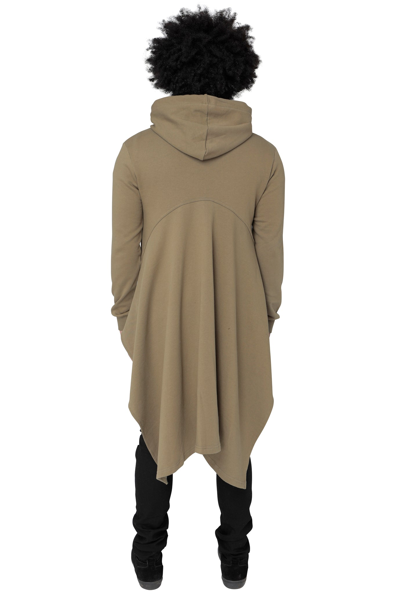 Style : Qetesh Khaki Longline Cape Style Hoody - Junq Couture