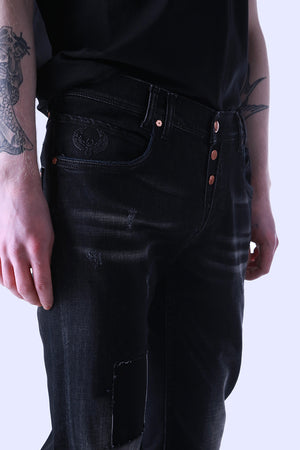 Style: Holborn 117 Black Slim Fit Jeans - Junq Couture