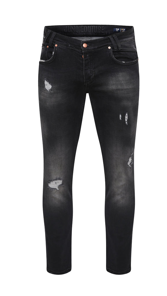 Style : Ishtar 104 Black Distressed Slim Fit Jean - Junq Couture