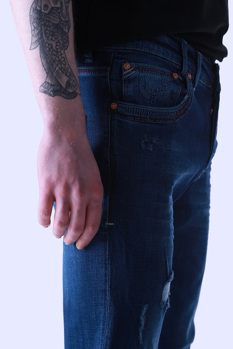 Style: Khaya 106 Dark Blue Slim Fit Jeans - Junq Couture