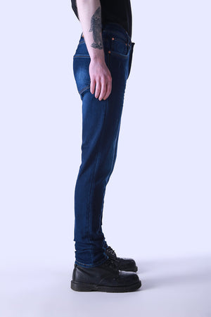 Style: Saro 101 Mid Blue Slim Fit Jeans - Junq Couture