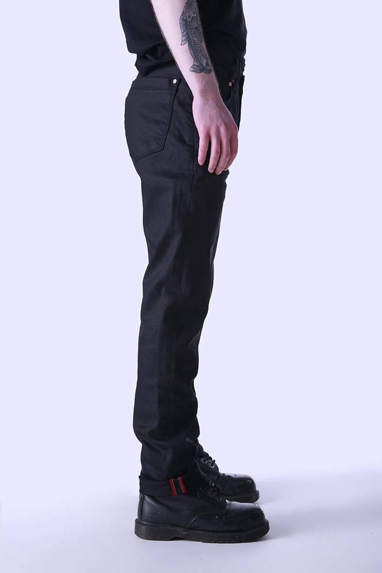 Style: Upney Waxed Black Slim Fit Jeans - Junq Couture