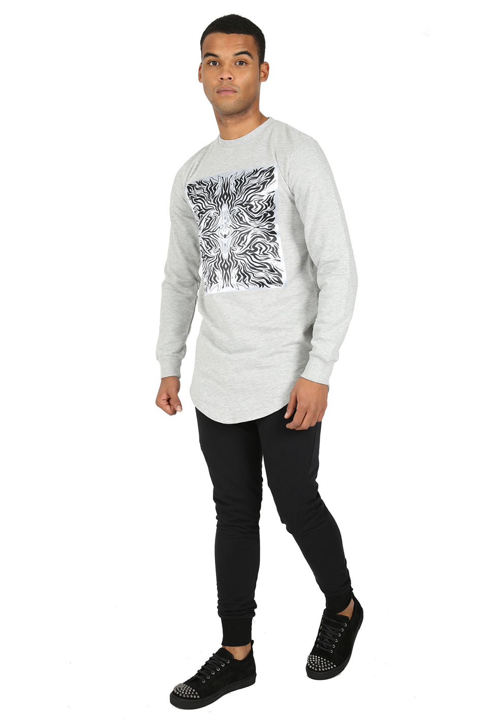 Style: Ra5 Grey Slim Fit Longline Sweatshirt - Junq Couture