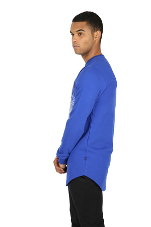 Style: RA3 Royal Blue Longline Sweatshirt - Junq Couture