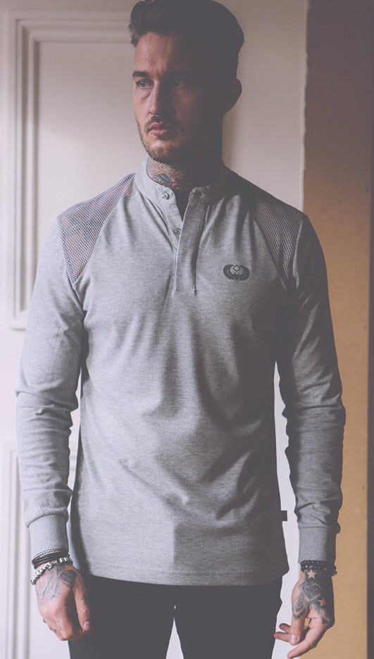 Style: Srigal Long Sleeve Polo Grey - Junq Couture