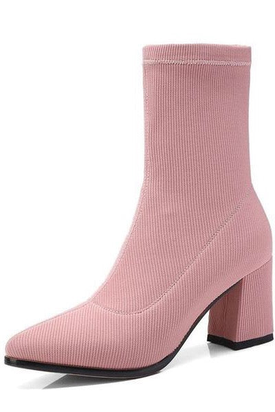 Pink sock boots. Spring summer fashion for women.