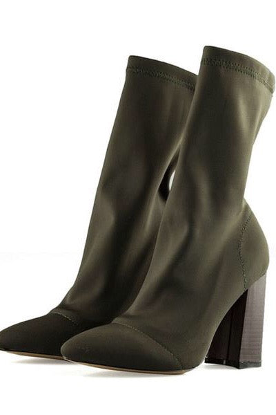 Army green sock boots. Women's spring summer fashion.