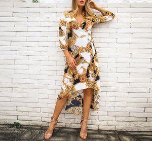 Print Surplice Wrap Satin  Deep V Neck Long Sleeve Autumn Maxi Fit and Flare Elegant Dresses