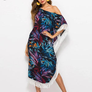 Floral Print Tassel Slash Neck Holiday Beach Bohemian Dress Female