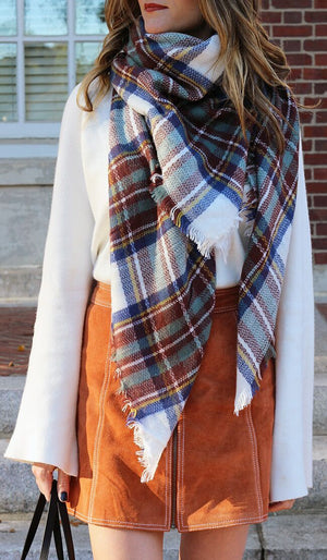 Fall Plaid Blanket Scarves