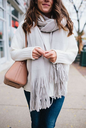 Soft Women's Brused Long Fringed Scarf