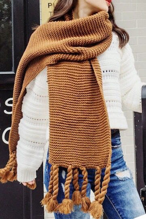 Chunky Knit Long Fringe Scarf